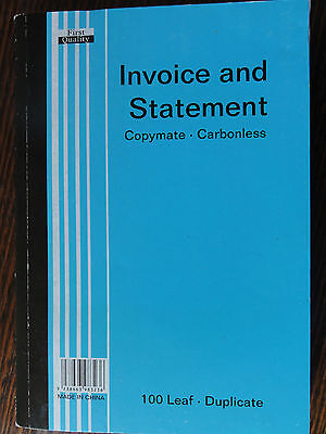 Wholesale- 10x 100page Carbonless Invoice book and statement australian standard