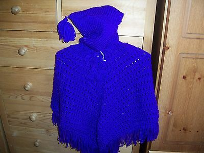 New Hand-Knitted Child's Poncho In Beautiful Shade Of Deep Purple