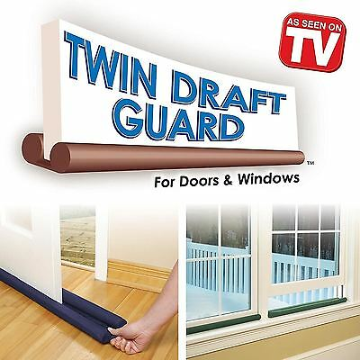 2 x Twin Double Draught Cold Draft Air Excluder Insulator Door Window Dual Guard