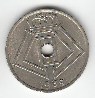 Belgium 25 Cents 1939 Shields Ef+     152D      By Coinmountain