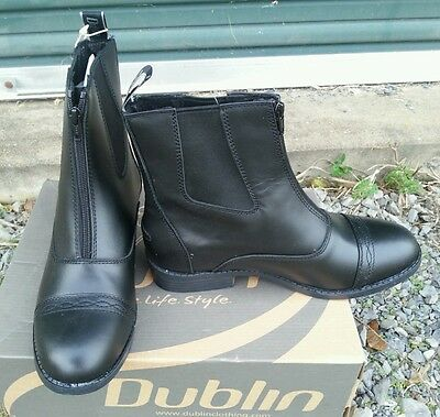 NWT DUBLIN ADVANCE Black Leather Zip Front Paddock Jod Boots Ladies 10