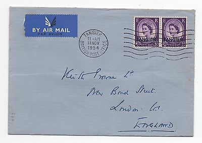 1954 MOROCCO AGENCIES QEII Air Mail Cover TANGIER To LONDON SG294 Overprint