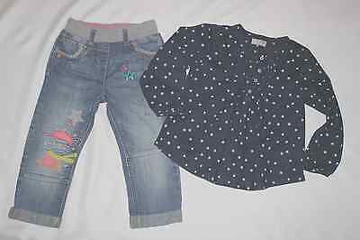 Next UK Zircus Mouse Jeans Hose Star Tunika Bluse Gr 2-3 92 98 Set kombi Outfit