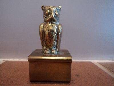 Vintage Early Brass Cast Owl Finial - Desk Top Display/paperweight - Gorgeous.