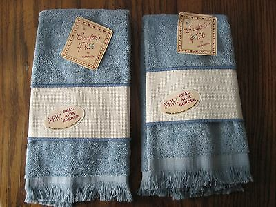 Lot of 2 Crafter's Pride by Cannon Grand Manner Velour Cross Stitch Towels NOS