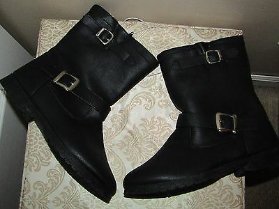 New Faux Leather Women's Short Zip Up Boot Black Size 6