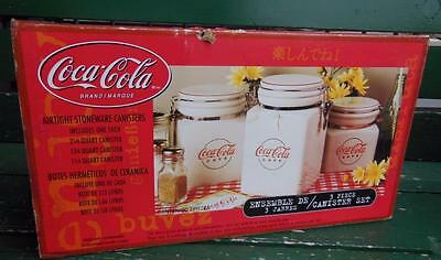 New Coca-Cola Coke Cafe 3 Pc Kitchen Canister Set Advertising 2000 Gibson