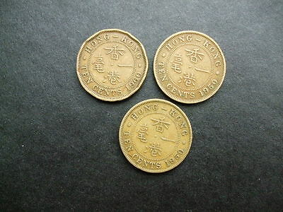 Three Old Coins From Hong Kong 10 Cents 1950 x 2 & 1960