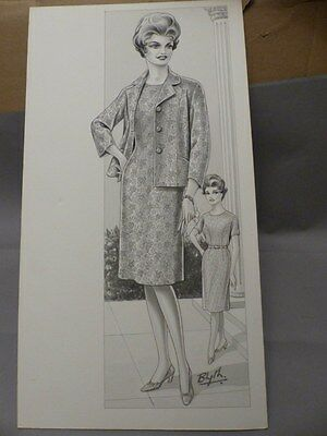 #894 Original Vintage Blyth Fashion Drawing Painting