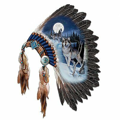 Beautiful Headdress Wolf Wolves Native American Style Wall Decor New