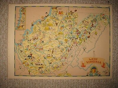 Antique 1935 West Virginia Our Usa A Gay Geography Cartoon Pictorial Map Coal Nr
