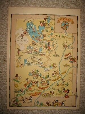 Antique '35 Utah Our Usa A Gay Geography Cartoon Pictorial Map Mormon Lds Church