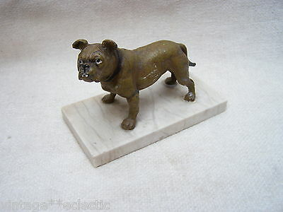 OLD ANTIQUE A HOLLOW METAL FIGURE of a BULLDOG (ENGLISH FRENCH?) on MARBLE BASE