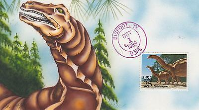 Ham Cachets Hand Painted/drawn First Day Cover Fdc 1989 Dinosaurs Brontosaurus