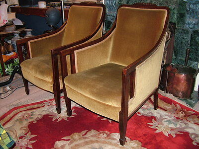 A Pair Of Antique Country House Edwardian  Armchairs With Carvings