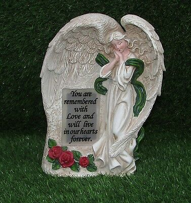 Angel Standing With Led Light Verse Plaque Memorial Grave Ornament