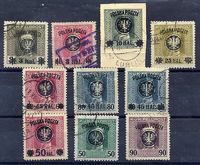 POLAND 1918 Surcharges on Austria Feldpost set of 10 stamps, used.  Michel 20-28