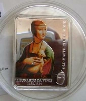 Cook Islands 5$ 2009 LADY with ERMINE by LEONARDO da VINCI Silver Proof coin