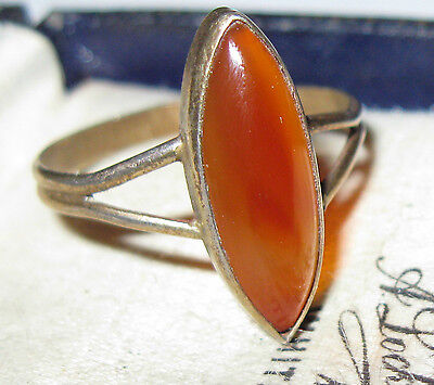 VINTAGE Antique Victorian Carnelian Stone Gold Solid Silver Jewellery RING R 8.5