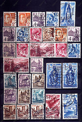 FRANZOSISCHE ZONE:1947 - 1948 RHINELAND, BADEN, WURTTEMBERG A lot of USED stamps