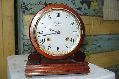 mantel  clock FHS GERMAN MOVEMENT TWIN BELL WORKING  + KEY