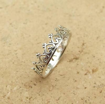 925 Sterling Silver 5mm Crown & Heart Design Band Stacking Ring