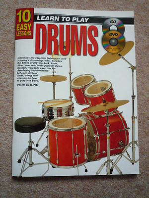 Learn to Play the Drums - 10 Easy Lessons Book, CD and DVD - Ptere Gelling
