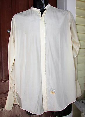 Vtg Antique Mens SILK Cream Tuxedo For Collar Dress Shirt Gussets Truhu 15 35