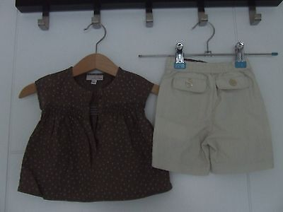 Verbaudet Mila Blue Baby Girl Brown & Cream Dot Trousers and Top Set Size 3 M