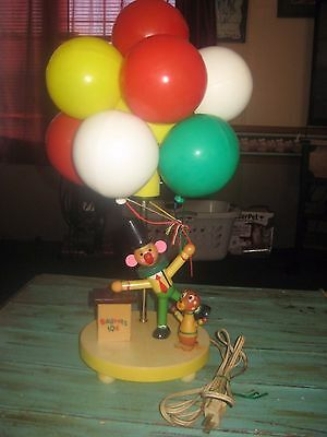 VINTAGE DOLLY TOY 70s BALLOON VENDOR CLOWN NURSERY LAMP NIGHT LIGHT TESTED WORKS