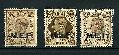M.e.f. 3 -- G6 Gb Used Stamps With M.e.f. Overprint On Stockcard