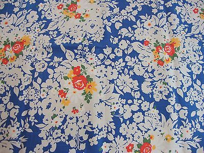 2.5 Yds Vtg 1950's Era Linen Fabric Blue & Red Poppies Floral