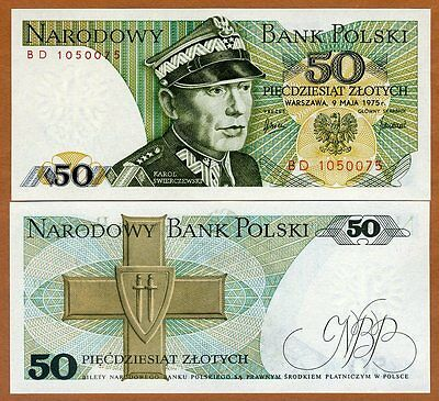 Poland, 50 Zlotych, 1975 P-142 (142a), UNC > first date