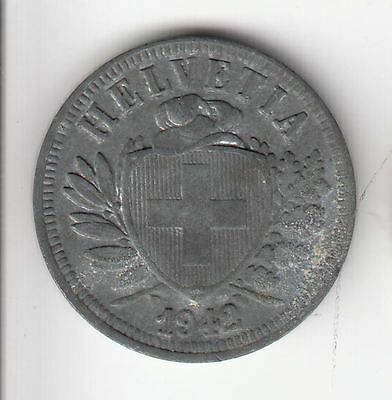Swiss 2 Cents 1942 Zinc Shield     245G            By Coinmountain