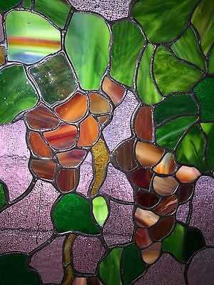 HAND CRAFTED STAINED GLASS Vineyard GRAPES LEAVES WINDOW ~ Suncatcher 16 x 11