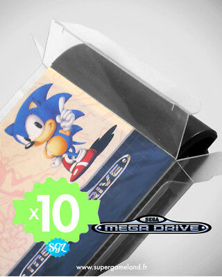 10 BOITIERS PROTECTION PROTECTIVE CASE SEGA MEGADRIVE MD LOOSE 0,4 mm NEUFS