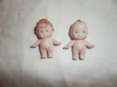 """RARE tiny Vintage 1 1/2"""" Porcelain or Bisque Kewpie Boy and Girl Dolls  Painted"""