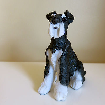 "Mini Schnauzer Puppy Sitting Dog Figurine Statue Resin Pet 3.5 "" H Ornament New"