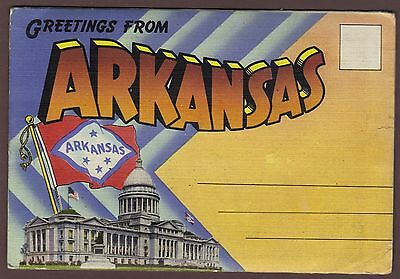 Greetings from Arkansas 18 view 1942 Fold-out Postcard unmailed