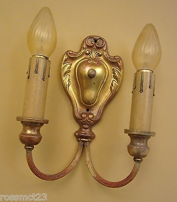 Vintage Sconces eight matching 1920s Colonial Revival brass wall lights