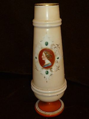 lovely victorian milkglass vase with cameo on slender cream vase 1880's glass