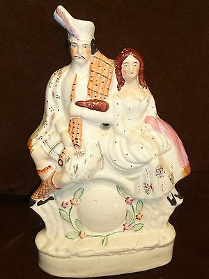 antique staffordshire flatback scotch piper and daughter lovely colours pottery