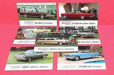 Lot of 7 Different 1965 Rambler Factory Advertising Postcards  Nice! Unused