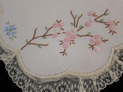 Vintage Doily Pink Cherry Blossom & Blue Daisies Hand Embroidered Linen