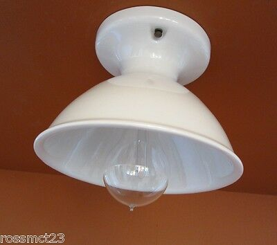 Vintage Lighting three matching all porcelain kitchen or bath by Alabax