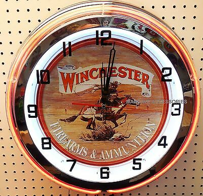 "18"" WINCHESTER Sign Double Neon Clock Firearms & Ammunition"