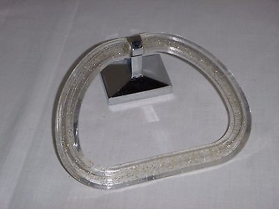 Vtg Mid Century Stirrup Style Glitter Acrylic Towel Ring Chrome - No Mount #1