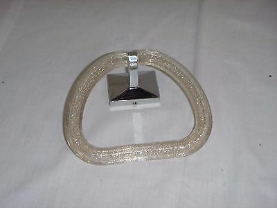 Vtg Mid Century Stirrup Style Glitter Acrylic Towel Ring Chrome - No Mount #2
