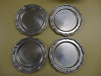 """4 York Metalcrafters 10.5"""" Diameter Queen Anne Pewter Plates Dinner Colonial Set"""