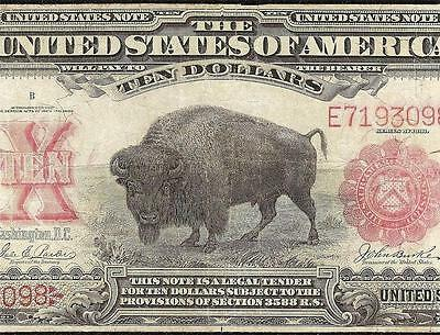 LARGE 1901 $10 BILL UNITED STATES LEGAL TENDER Fr 119 LEWIS AND CLARK BISON NOTE